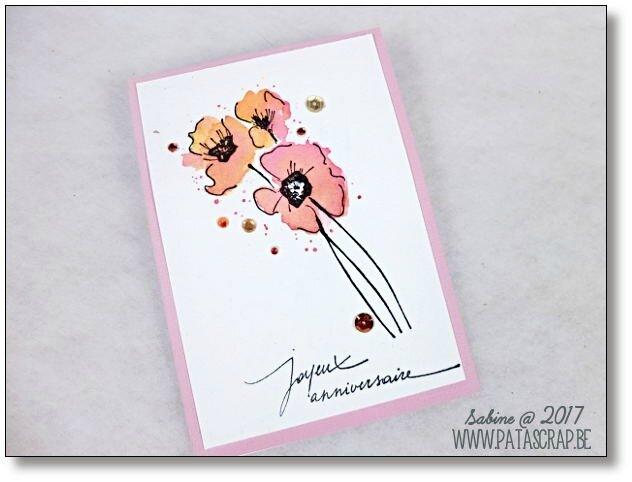 carte coquelicots roses 2