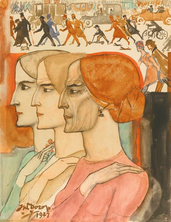 JanToorop Three women in profile witj a street