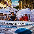 Journée mondiale des réfugiés, marche des parapluies
