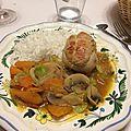 Plat : paupiettes de veau, fèves, carottes et champignons