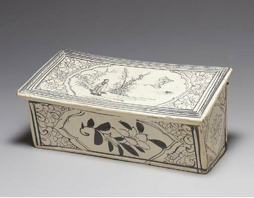 A Cizhou painted 'Zhang family' pillow, Late Northern Song-Jin dynasty, 12th-13th century