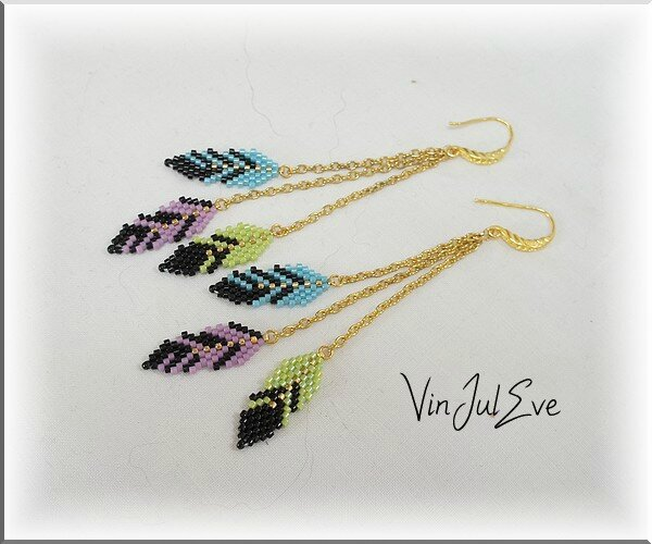 Bo Plumes anis turquoise violet