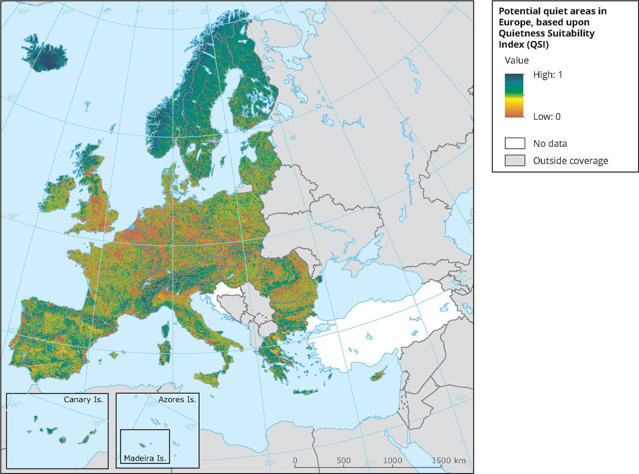 Quietness Suitability Index in some European countries