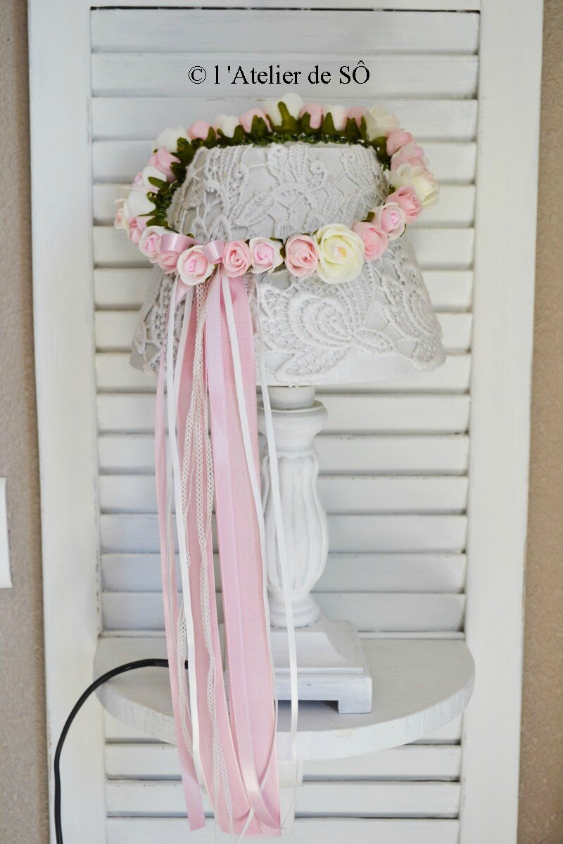 couronne shabby rose et blanc - 1