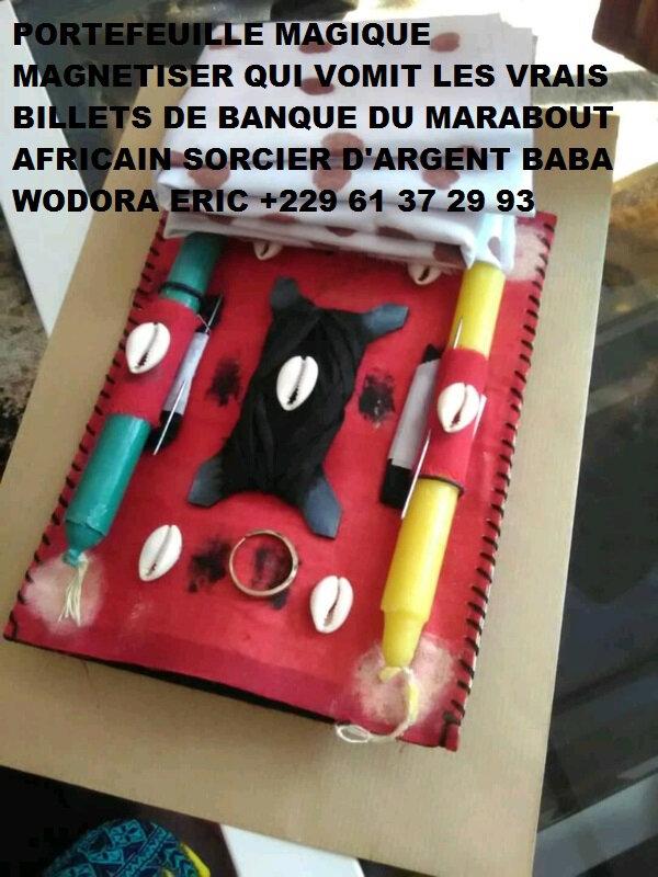 PORTEFEUILLE MAGIQUE MAGNÉTISER QUI VOMIT LES VRAIS BILLETS DE BANQUE DU MARABOUT AFRICAIN SORCIER D'ARGENT BABA+229 61 37 29 93
