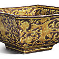 An aubergine and yellow enameled square 'phoenix' bowl, jiajing mark and period (1522-1566)