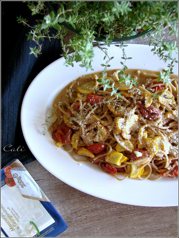 Spaghetti aux Courgettes Jaunes, Tomates Cerises & Gorgonzola-Mascarpone 002