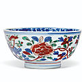 A wucai 'peony' bowl, wanli six-character mark in underglaze blue within a double circle and of the period (1573-1619)