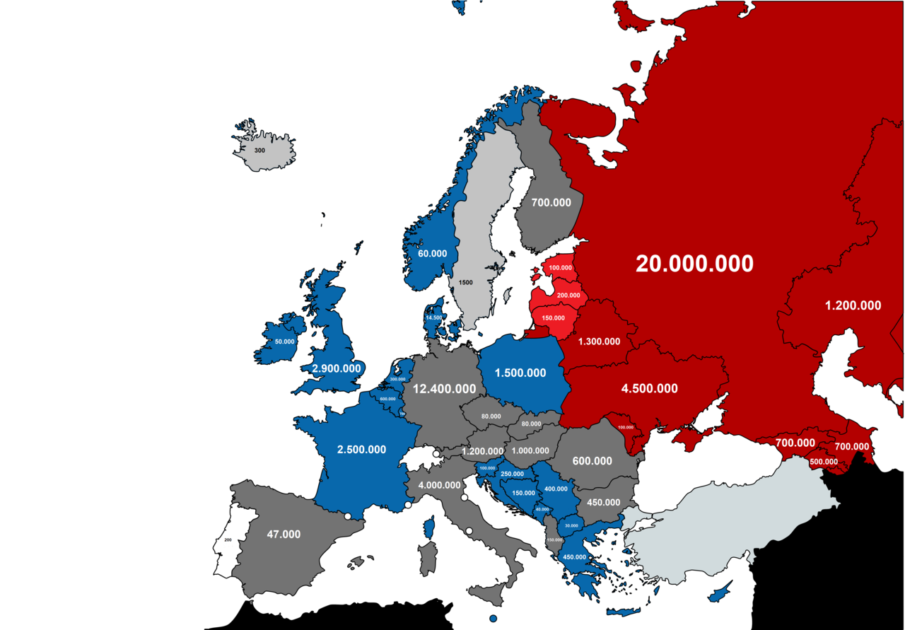 European countries by approximate total amount of soldiers deployed during WW2