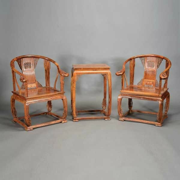 A Three-Piece Huanghuali Furniture Set, Late 20th Century