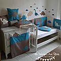 décoration chambre bébé dinosaure nuage pétrole canard camel marron beige 56