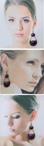 Boucles d'Oreilles Style Tibétain Kali Perle Strass Violet Argent du Tibet