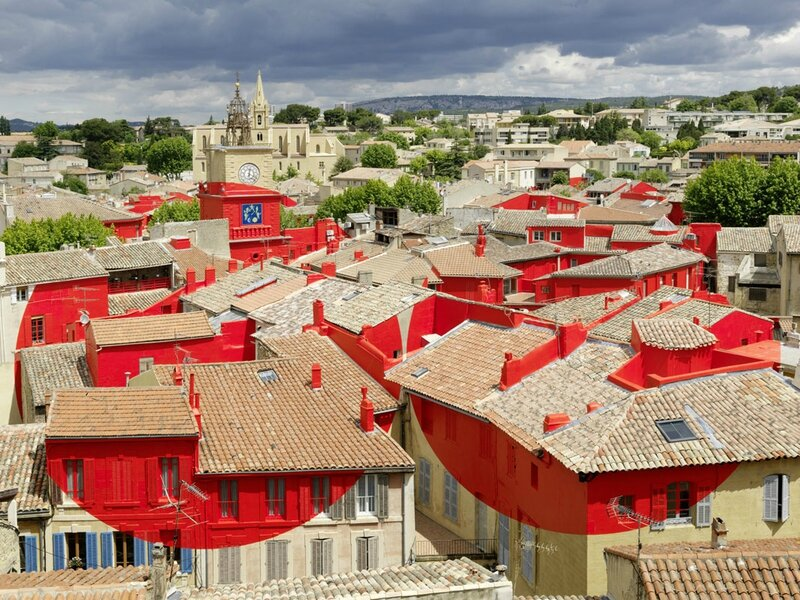 """Double disque évidé par les toits"""" Salon de Provence, France 2013 by Felice Varini"""