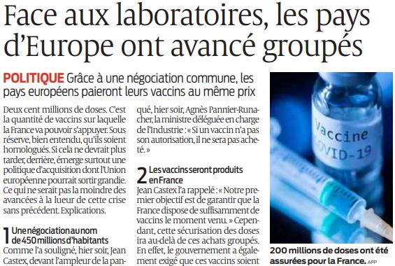 2020 12 04 SO Face aux laboratoires les pays d'Europe ont avancé groupés