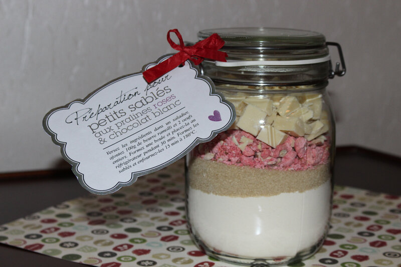 SOS SABLES PRALINES ROSES / CHOCOLAT BLANC (cadeau gourmand)