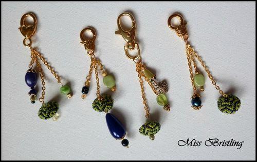 bijoux de sac bleu anis