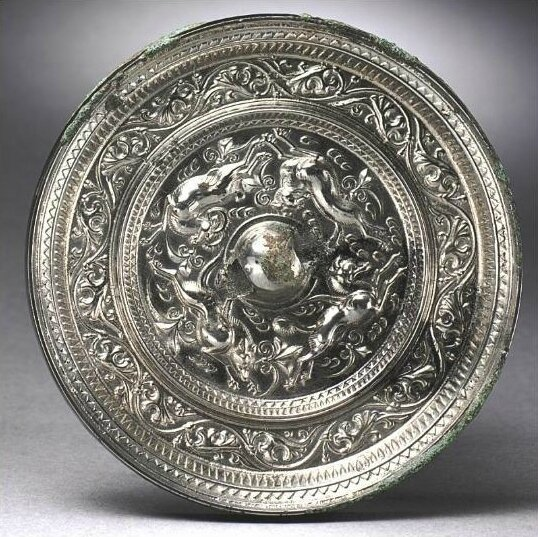 A Fine silvered bronze mirror, Sui- Tang Dynasty