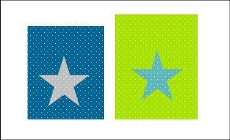 pochon rangement étoiles pétrole anis turquoise gris