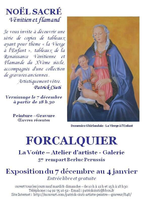 Invitation Salon de Noël 2015 La Vierge à l'Enfant