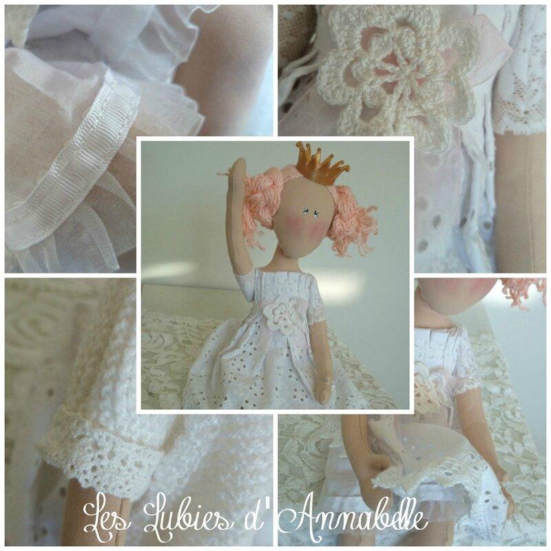 poupée princesse rose et blanc