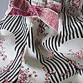 Culottes en coton écru imprimé rayures noires et médaillons fleuris - taille S (2)