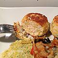 Boulettes de poulet sauce oignon-ail et wok de légumes