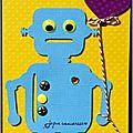 carte d'anniversaire avec robot