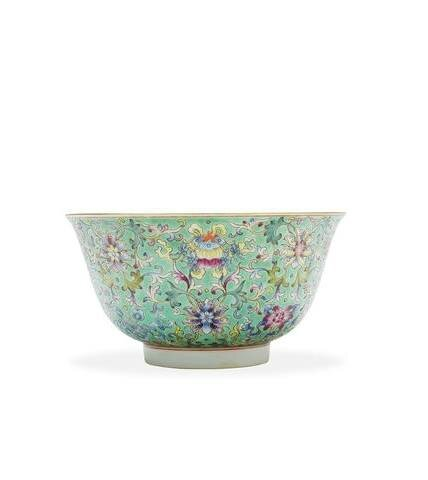 A Chinese turquoise-ground famille-rose 'scrolling lotus' bowl, Jiaqing mark and of the period. Photo Bonhams.