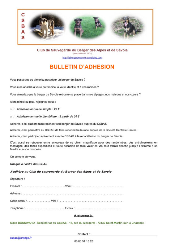 Bulletin adhesion CSBAS