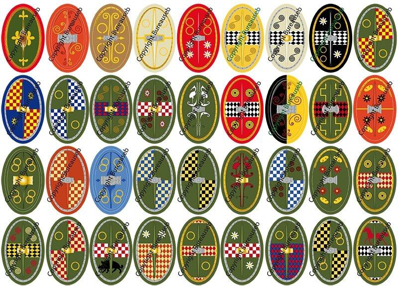 Boucliers gaulois 02 gallic shields autocollants stickers personnalis s pour playmobil - Stickers muraux personnalises ...