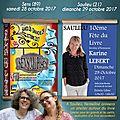 Salons du livre sens (89) 28 octobre 2017/ saulieu (21) 29 octobre 2017
