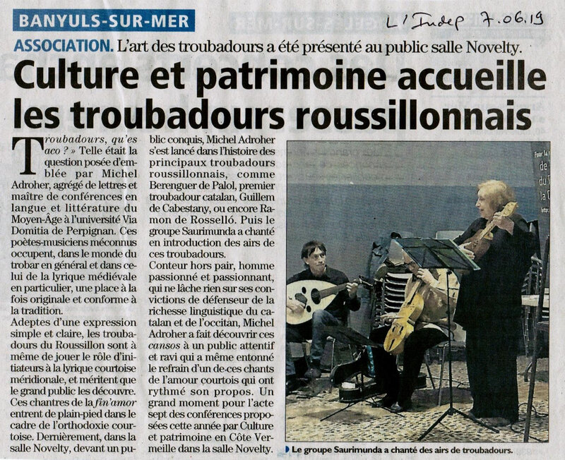 Troubadour article l'indep 07