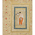 A courtier feeding a goshawk, mughal india, circa 1600-1610; borders from the late shah jahan album, circa 1650-1658