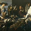 Adriaen van utrecht (1599-1652), marchand de gibier à son étal, avec deux figures