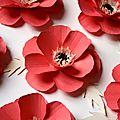 Fabrication de fleurs en papier / coquelicot en papier pour une décoration événementielle / fleur en papier / poppy paper.