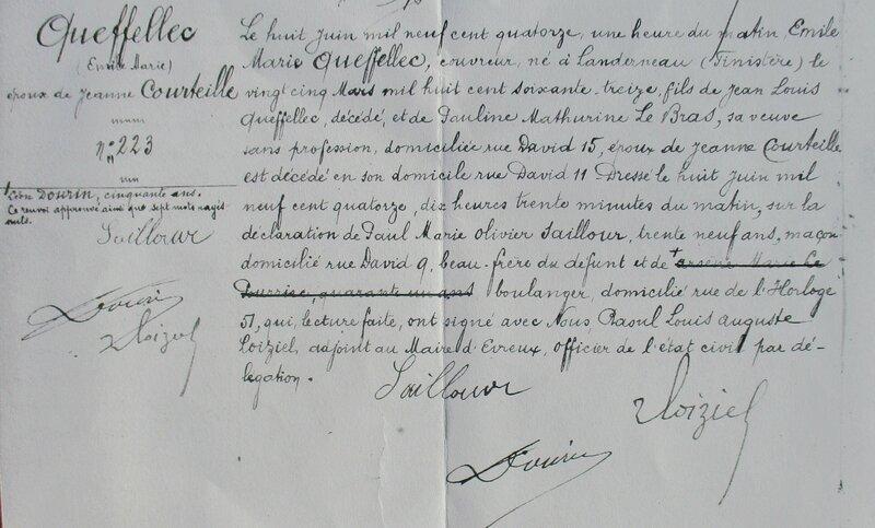 1914 Décès Emile Queffellec à Evreux