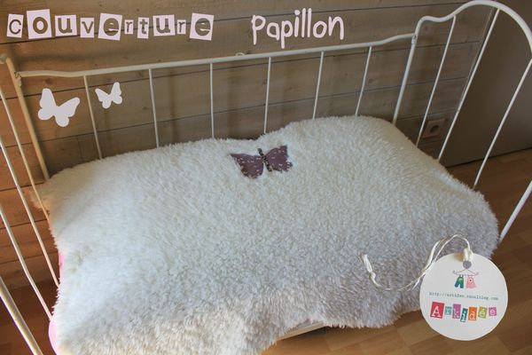 Couverture Papillon face peluche
