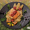 Dos de cabillaud, fenouil confit, chorizo, pain de maïs à l'anis et jardin d'herbes aromatiques !
