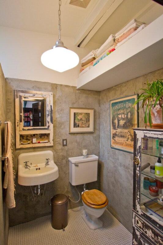 décoration-petite-salle-bains-toilettes-vintage