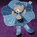Doudou ours filou bleu doudou et compagnie,rond, www.doudoupeluche.fr
