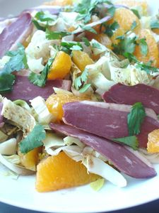 Salade aux magrets de canard et orange