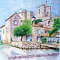 Château de bonnaguil - aquarelle
