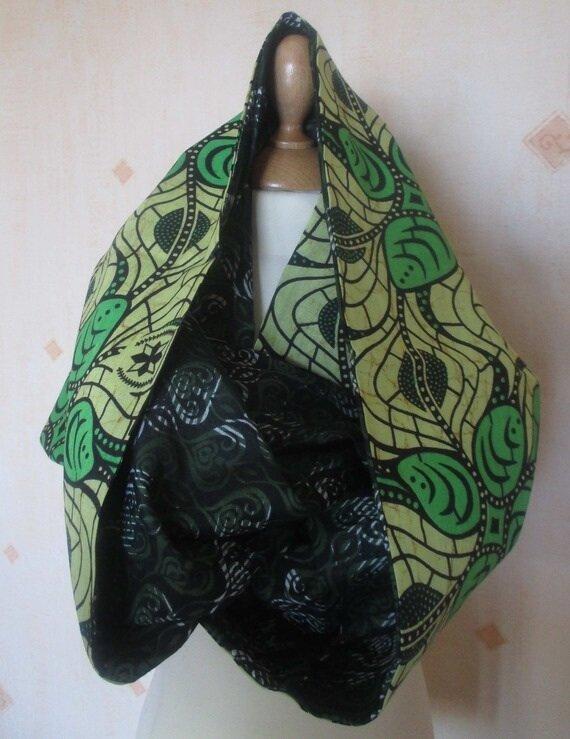 88bc19484 Grand foulard tube en tissu africain wax et tissu indien : modèle ...