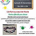 Portes ouvertes de notre école: samedi matin 25 novembre 2017! soyez les bienvenus!