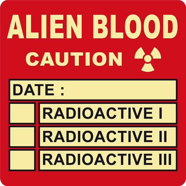 label alien blood zombie virus radioactive