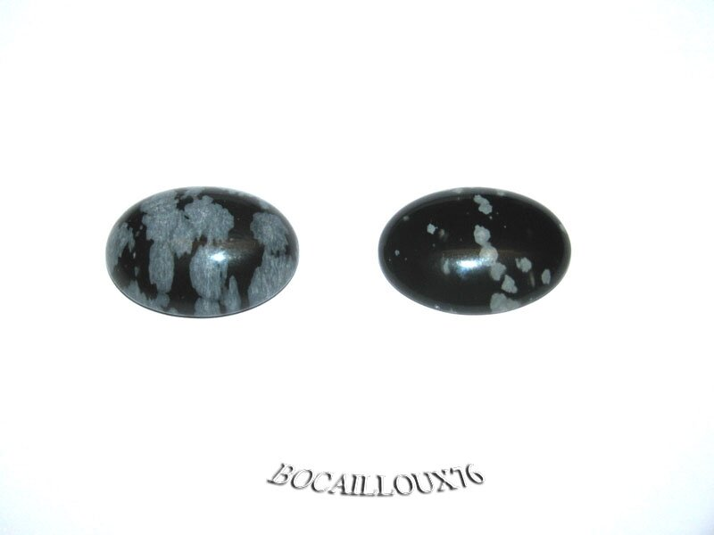 CABOCHON 15x20 OBSIDIENNE NEIGE 4 - LOT DE 2 - POUR CREATION