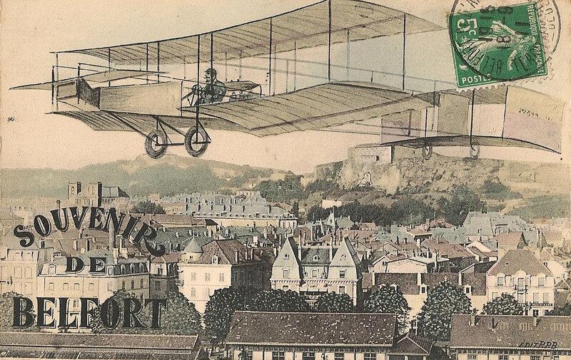 Belfort CPA Souvenir Avion dessinée ville