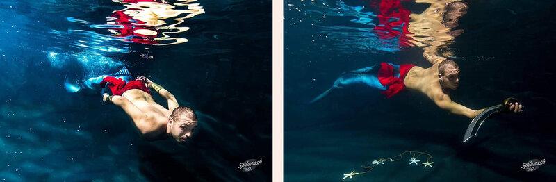 Ludo le triton en nageoire bleue et ceinture rouge - photo splaaash studio