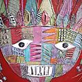 Detail indian head with feathers 80x80cm