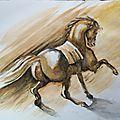 cheval à l'aquarelle